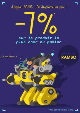 PROMO - 7% sur le produit de votre choix jusqu'au 20 juin 2017 ! Code : RAMBO Par ici :http://www.ldlc.com/n4048/#523d712af1ceb