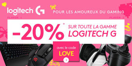 PROMO - Jusqu'au 16 février, 20% sur la gamme Logitech G, avec le code LOVE ! http://www.ldlc.com/n4167/logitechG-st-valentin/#523d712af1ceb