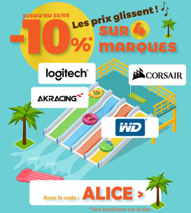 PROMO - 10% sur 4 marques ! Jusqu'au 25 mai 2017, code : ALICE ! Par ici :http://www.ldlc.com/n4067/#523d712af1ceb