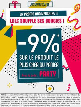 PROMO - 9% sur le produit de votre choix ! Jusqu'à mercredi, avec le code PARTY ! Par ici : http://www.ldlc.com/n4048/#523d712af1ceb
