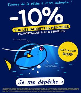 PROMO - 10% sur les barrettes mémoires ! Jusqu'au 10 janvier 2018, code : DORY Par ici : https://www.ldlc.com/informatique/pieces-informatique/memoire-pc/c4703/p1e0t8o1a1.html#523d712af1ceb