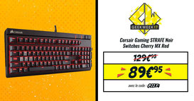 Corsair Gaming STRAFE AZERTY Noir - Switches Cherry MX Red. Code promo GEEK4, seulement ce mardi 23 mai 2017 ! http://www.ldlc.com/fiche/PB00192374.html#523d712af1ceb
