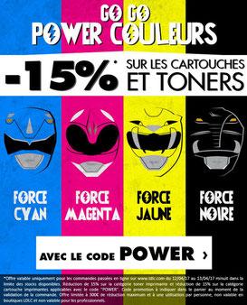 PROMO - 15% sur les cartouches et toners !  Jusqu'au 13 avril 2017, code : POWER ! Par ici : http://www.ldlc.com/assistant-consommables/c11/#523d712af1ceb