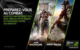 PROMO - Jusqu'au 28 mars, For Honor ou Ghost Recon offert pour l'achat d'une GTX 1070, 1080 ou d'un PC équipé ! http://www.ldlc.com/n4168/#523d712af1ceb