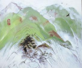 © Lisa Keuerleber, Berge, 2016, Öl und Filzstift, 50 x 70 cm