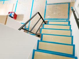 オープン階段とフラットバー手摺!