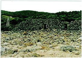 尖閣諸島魚釣島に残る鰹節工場跡の石積み。人骨が見つかった石積みとは別=1995年ごろ、仲間均市議撮影