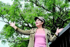 うりずんの季節を迎え、芳香を放つセンダンの木の下で誓いを込め、曲を歌い上げた来間高子さん=6日午後、県立バンナ公園