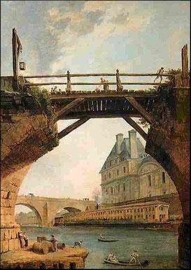 """""""Les Bains Vigier au Pont Royal"""" est un tableau de commande de Pierre Vigier à l'artiste Hubert ROBERT (1733-1808) - Coll. Banque de France / Hôtel de Toulouse"""