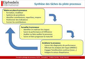 Synthèse des taches des pilotes de processus, mission, responsabilité  et rôle.