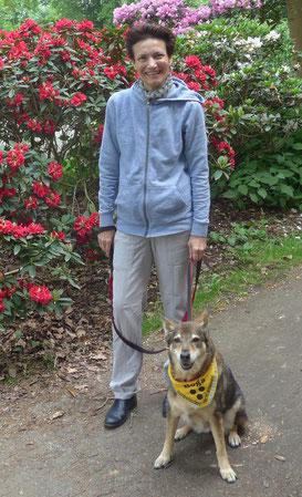 blinder Hund, Blindenhund, Halstuch blind, fast blind