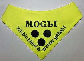 Blinden Logo, blinder Hund, Halstuch für blinden Hund,neongelb