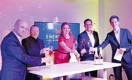 ENERGETIX Geschäftsleitung, Joey Kelly und Moderator Markus Appelmann (Alle Mitwirkenden wurden zuvor von einem Arzt getestet. Abseits vom Set bestand Maskenpflicht.)