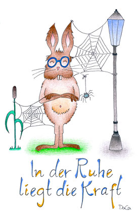 Grusskarte Cooler Hase mit Spinnennetz