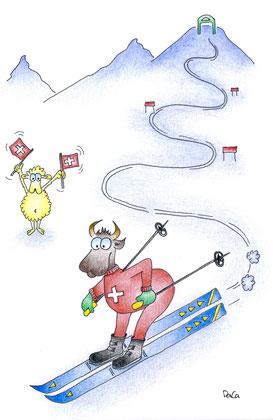 Grusskarte Swissness Kuh am Skifahren, Schaf mit Flaggen
