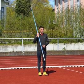 Luca Kunkel beim Speerwurf Bahneröffnung Bebra