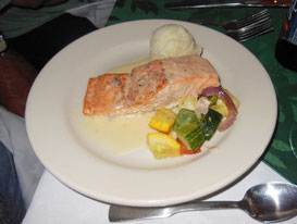 For lunch, Grilled Salmon plated with Fresh vegetables and Potato