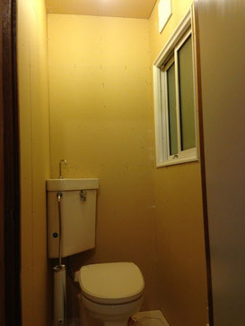 トイレ天井壁ボード貼り完了画像