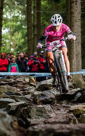 Sabine Spitz auf dem Weltcup Kurs in Nove Mesto ©EGO Promotion