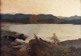René Ménard, Les errants, 1902, pastel sur papier marouflé sur toile, collection musée des beaux-arts de Brest métropole.