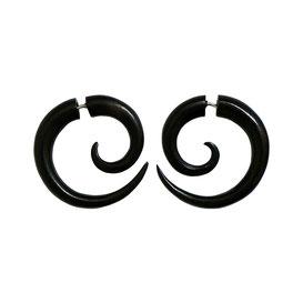 Black Wood Spiral Tribal Earrings フェイクゲージピアス ブラックウッドスパイラルボディーピアス