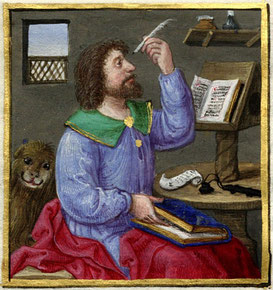 Evangelist Markus(?), in: Stundenbuch Ms. Library of Congress, The Lessing J. Rosenwald Collection Rosenwald Ms. 10, 1524, The Library of Congress, Washington