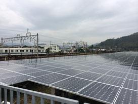 東武線葛生駅に併設された太陽光発電