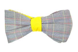 Herren Anzug Fliege gelb rot kariert grau zum selbstbinden