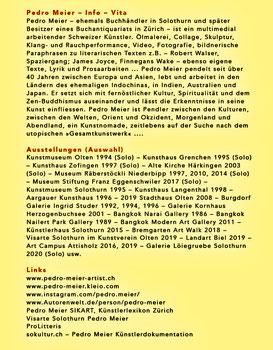 Pedro Meier – PARALLELWELTEN – Wasteland Factory oder Der Garten der Lüste –In Search of Lost Time – Lyrik und Mauerspuren – AMRAIN BOOKS Literatur Verlag – ISBN 978-3-9525246-0-2 – 2020, Broschur mit Abb. sFr 19.90 – Vita, Ausstellungen (Auswahl), Links
