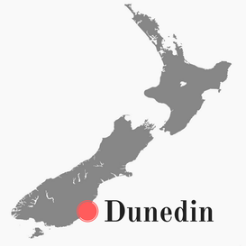 Carte de la Nouvelle-Zélande ciblant Dunedin
