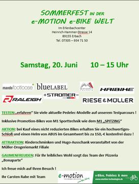 Sommerfest in der e-motion e-Bike Welt Ulm