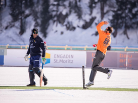 Elliot bowling at St Moritz Ice Cricket 2018