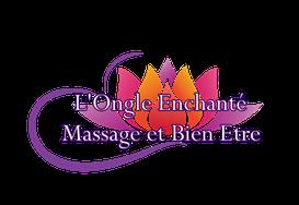 l'ongle enchanté massage et bien-être, logo, fleur de lotus