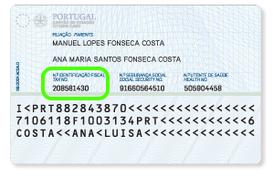 Beispiel NIF Ausweis Portugal