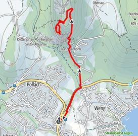 Route von St. Gilgen am Wolfgangsee auf den Plombergstein