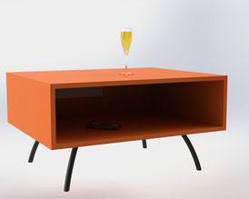 pied de table basse design coloris orange