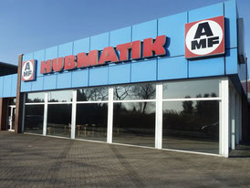 """Old office building of the vehicle conversion division with """"Hubmatik"""" lettering"""