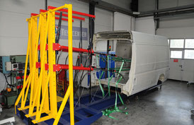 Pull test facility with chassis during a test