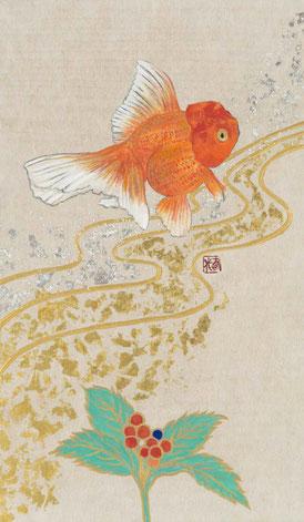 小笠原明代「招福金魚」紙本着彩・箔 27.3x16cm