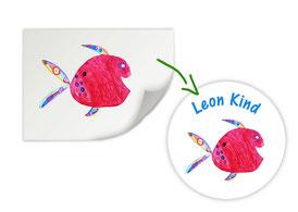 personalisierter Namensaufkleber nach einer Kinderzeichnung