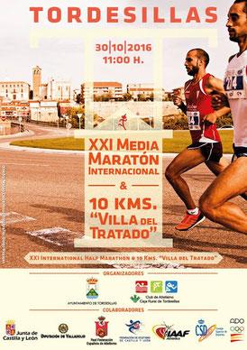 XXI M. MARATON Y 10 KM. VILLA DEL TRATADO - Tordesillas, 30-10-2016