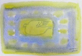 Bird by Window   9×14cm Watercolor on paper   2014