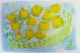 Gift of Pear 9×14cm   Watercolor on paper   2014