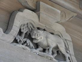 仏殿の十二支 虎の彫刻