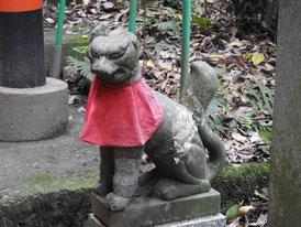 紅い鳥居の狐像