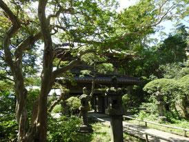 仏殿横から総門を望む