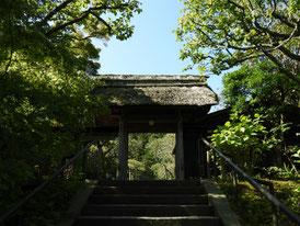 山門の茅葺屋根