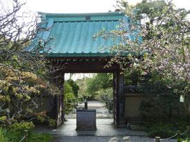 前庭園から山門を望む