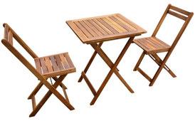 set giardino +acacia +sedie +outdoor +legno +2 +tavolino