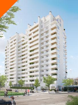 Render exterior e interior 3D. Proyecto Mirador del Ensanche, Huelva. Edificio residencial